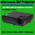 Venta directa de la fábrica Blue Ray DLP FULL HD 3D proyector 800 * 600 resolución nativa del proyector de negocios de bolsillo 6000 lúmenes