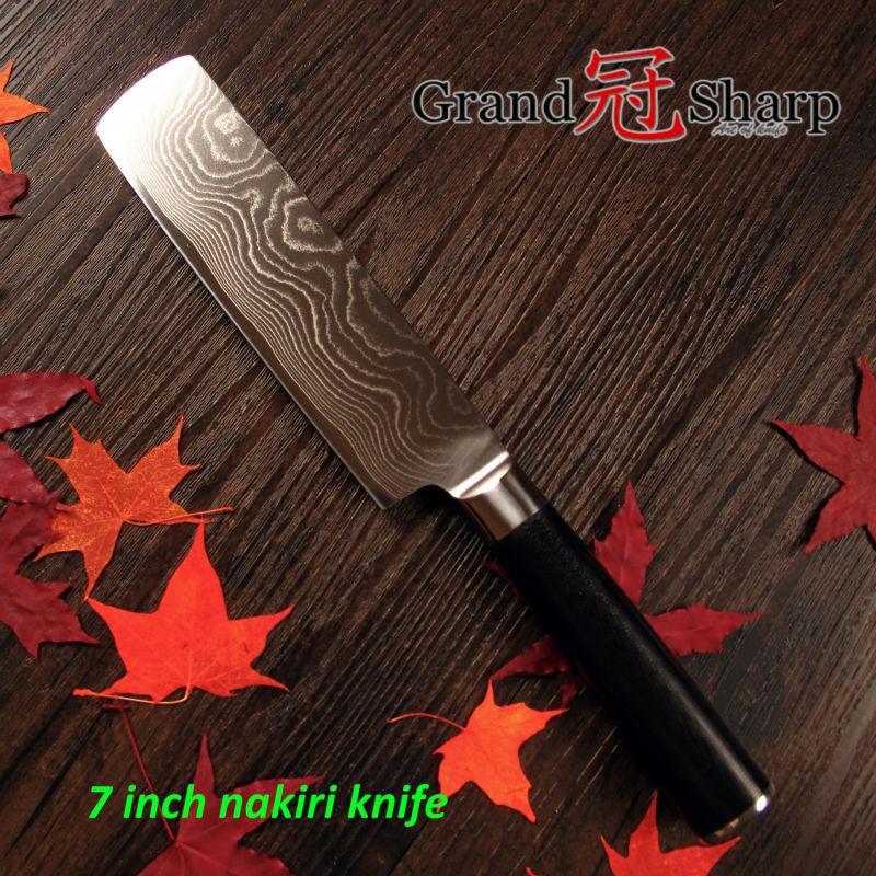 GRANDSHARP 7 Inch Nakiri font b Knife b font 67 Layers High Carbon Japanese Damascus Stainless