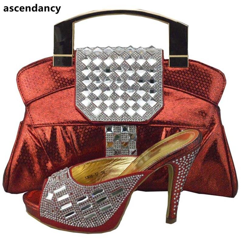 2018 Damen Frauen Nigerianischen Mit Ankunft Schuhe Taschen Strass Partei Set Verziert Neue Passenden Designer Luxus Goldsplitterlilarot 8nOymN0vwP