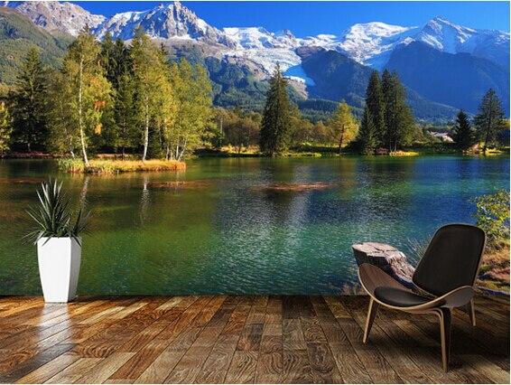 Kustom yang modern wallpaper Pegunungan yang tertutup salju 3D foto pemandangan alam untuk