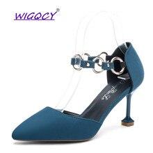 Pointed Toe Suede Thin Heels High heels pumps women shoes 2019 spring autumn shoes woman Fashion Buckle Hollow female shoes цена в Москве и Питере