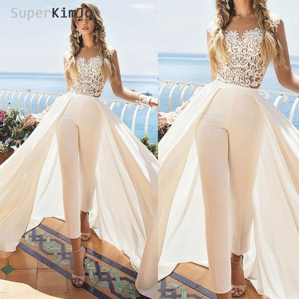Abiti Da Cerimonia Haute Couture.2020 Lace Applique Jumpsuits For Women Elegant Ivory Cheap Pants