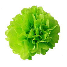 "12pcs 4""(10cm) Apple Green Light Purple Artificial flowers Paper PomPom  Flower Balls Home Wedding Party Car Decor Mariage Craft"