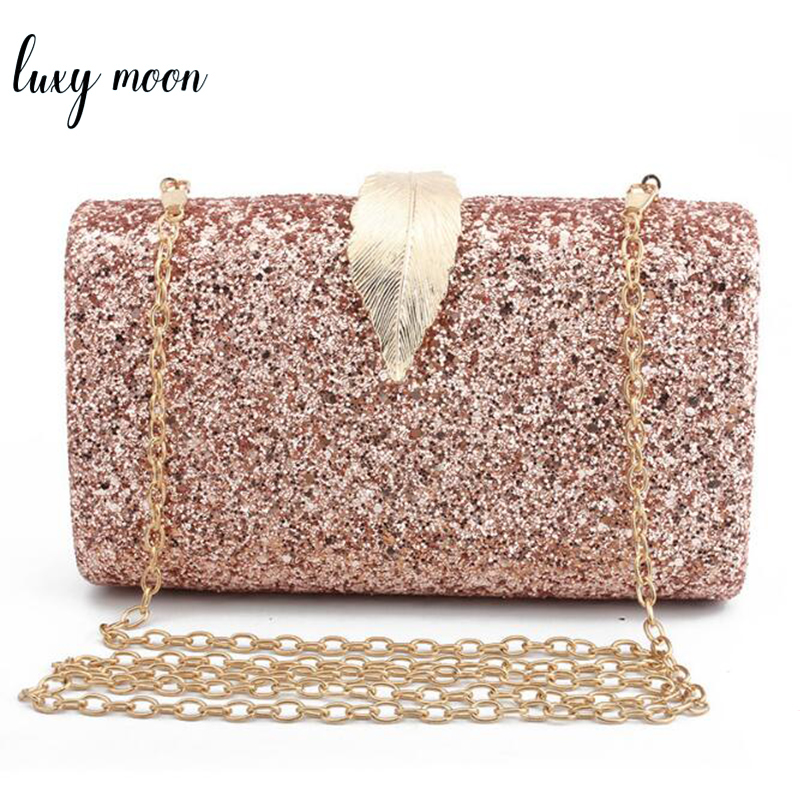 Fashion Sequined Clutch Women's Evening Bags Bling Day Clutches Gold Color Metal Leaf Lock Wedding Purse Female Handbag(China)
