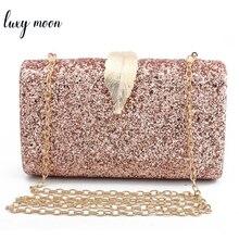 Women Clutch Bags Day Clutches Pink Gold Purse for Wedding Crossbody 2019 Metal Leaf Lock Designer Female Handbag