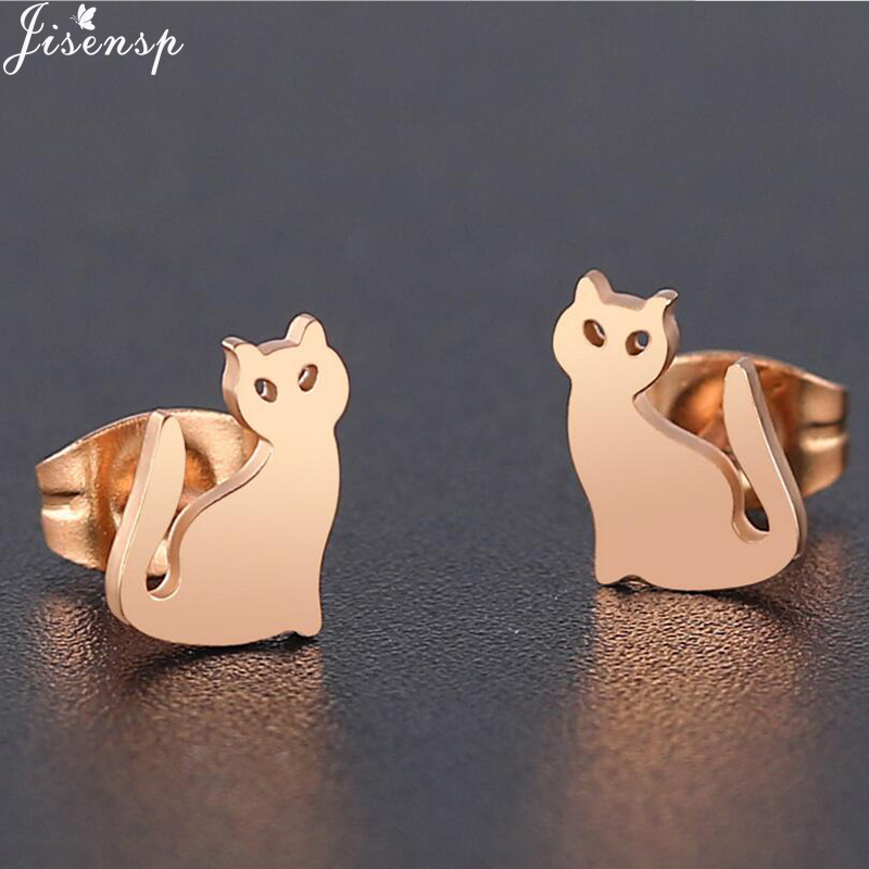 925 Sterling silver cute Love Playing cat kitty animal stud earrings Gift box S4