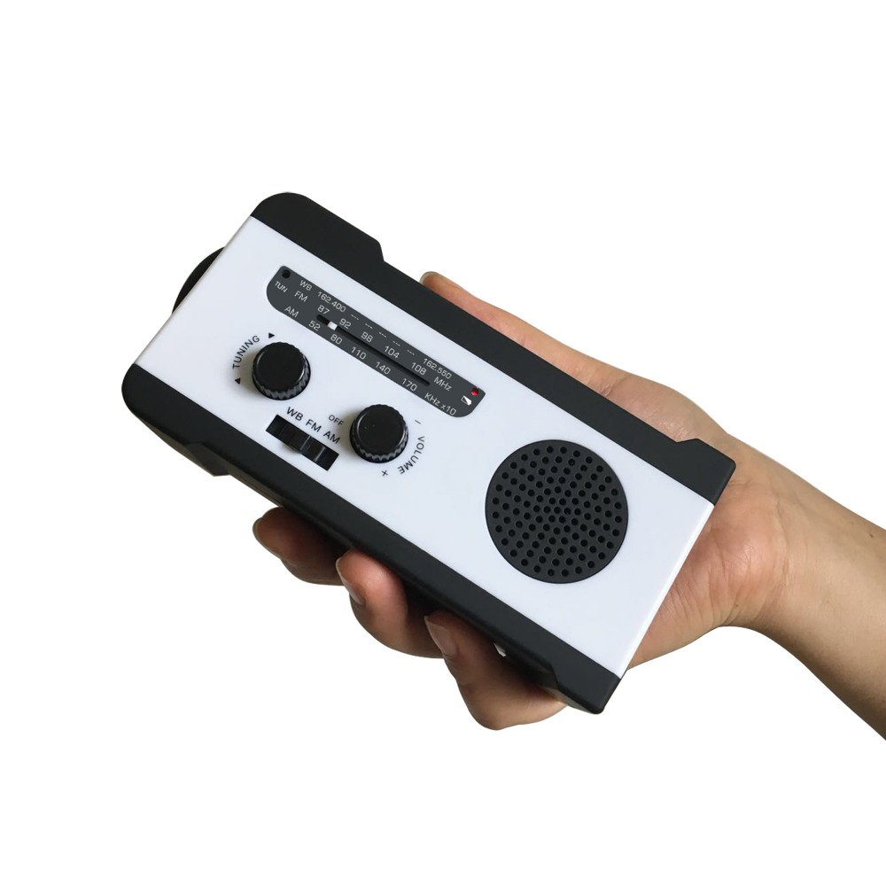 Protable AM/FM radio Manivelle Générateur Solaire puissance radio avec lampe de poche 2000 mah chargeur de téléphone
