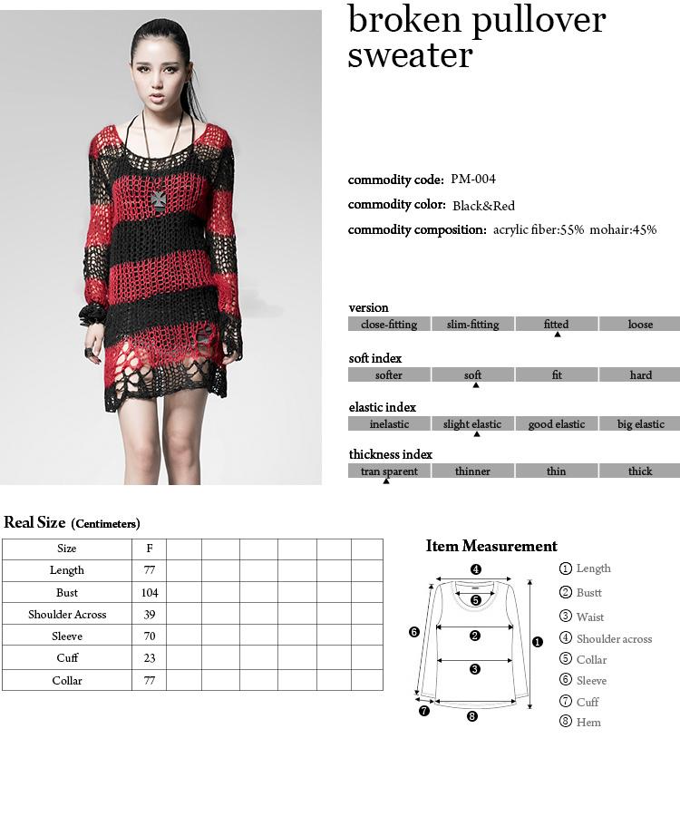 5b9f5602d35ad Casual Gothic Hole Sweater Visual Kei Cut Black Steampunk coat punk ...
