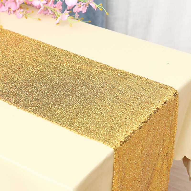 Image 4 - Sequin Table Runner Rose Gold/Silver/Navy/Pink/Red Color Luxury Style Wholesale For Wedding Hotel Dinner Party Decoration-in Table Runners from Home & Garden