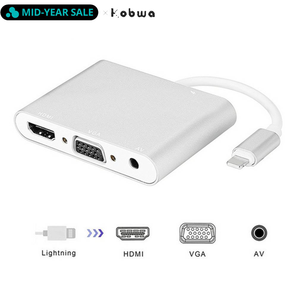 Lightning/HDMI VGA адаптер 3,5 мм аудио AV 4 в 1 Plug Play цифровой кабель для iPhone X 8 7 6 6s Plus 5 5S Mini iPad