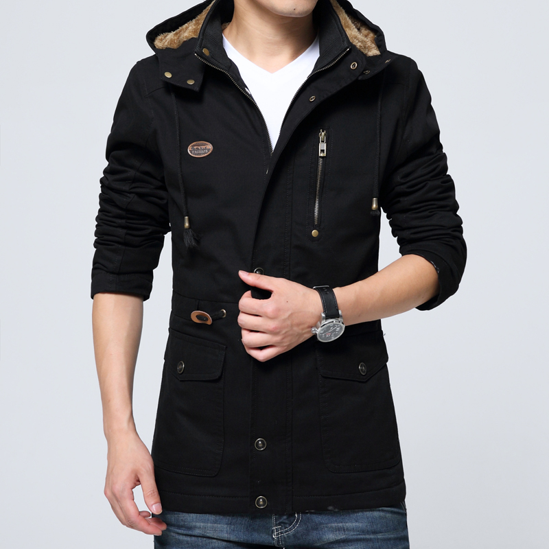 Winter Men's Hooded Jackets Coat Can Receive Waist Plus Velvet Thick Clothes Pocket Detachable Hat Winter Men's  Jackets Coat