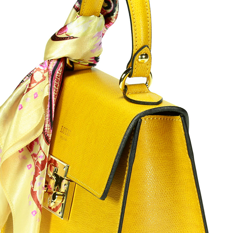 lulu milano Genuine leather made in Italy orange shoulder bag  85123-s 4