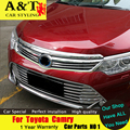 A&T For Toyota Camry grille chrome trim car styling 2015 For Camry logo front grille strip stickers car speacial ABS