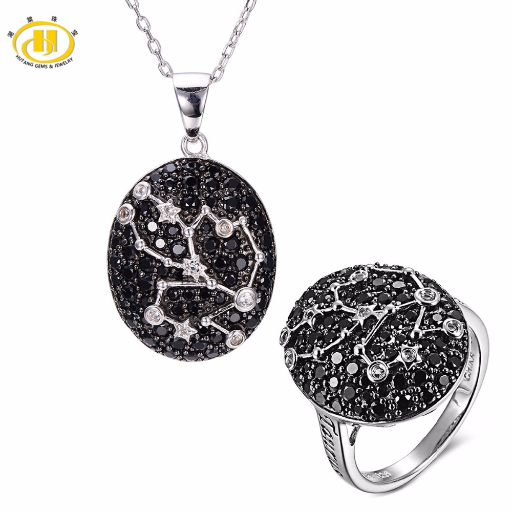 Hutang Taurus Black Spinel Pendant & Ring Solid 925 Sterling Silver Sign Fine Jewelry Sets For Gift 20th April Until 22th May