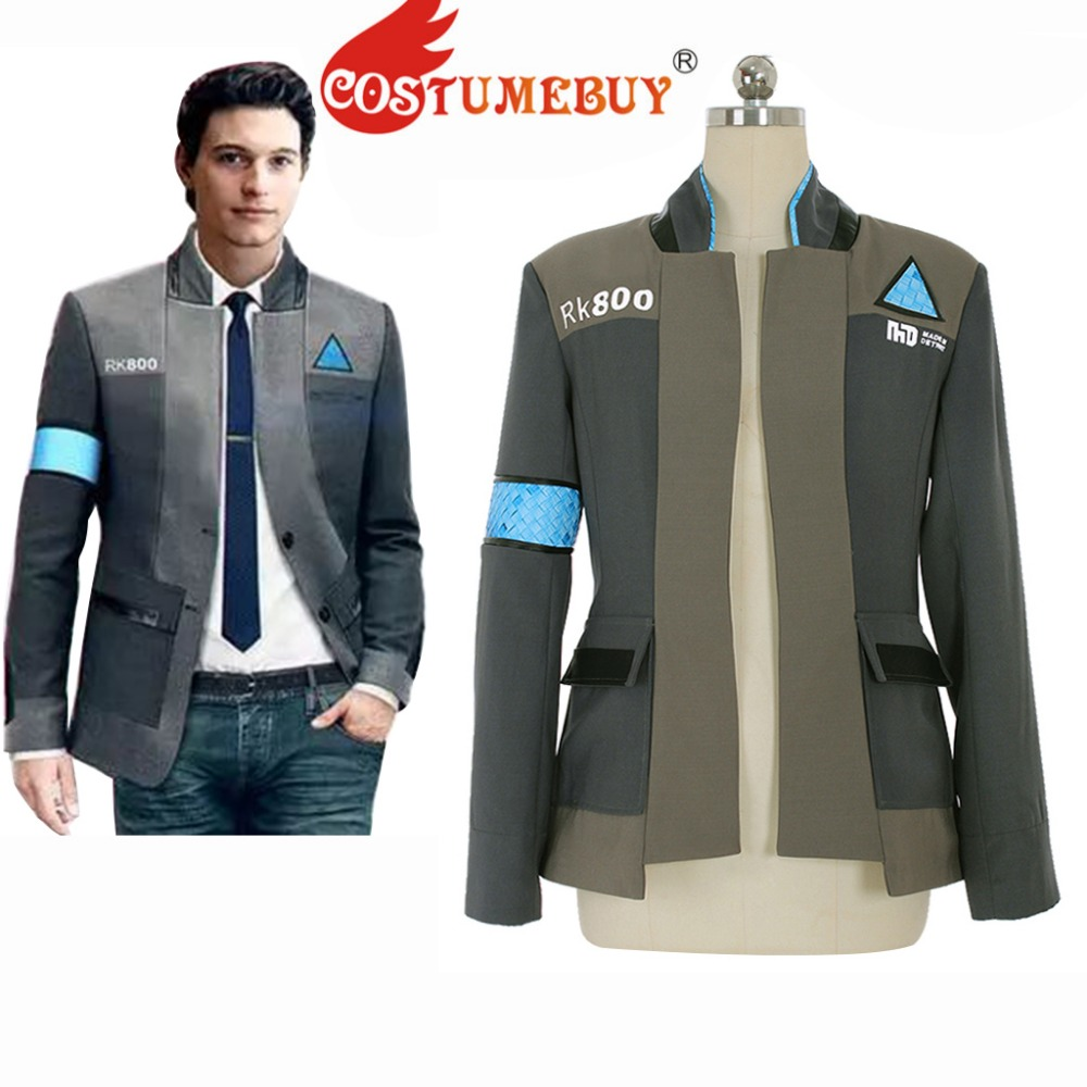 CostumeBuy Game Detroit: Become Human RK800 Connor Costume Adult Mens Unifrom Top Jacket Coat Halloween Suit Custom Made L920