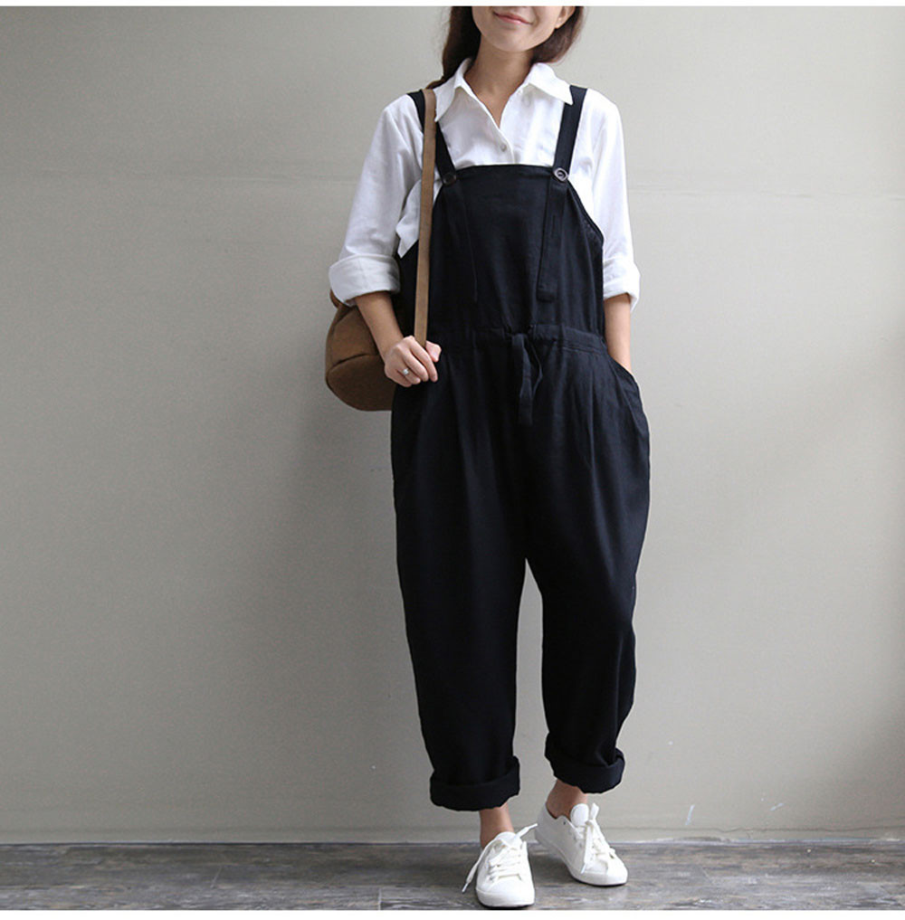 Women Oversized Dungaree Jumpsuits Bib Casual Loose Long kombinezon pocket Pants Trousers black Rompers Sling боди женщины #15