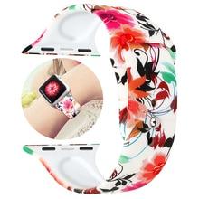 все цены на Sport band for apple watch strap 4 3 44mm 42mm 40mm 38mm printing silicone belt watchband for iwatch series 3/2/1 bracelet онлайн