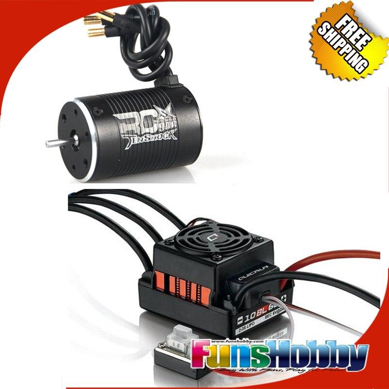 1:10 puissance combinée avec Tenshock RC906 6 pôles Micro moteur sans balais & HobbyWing QuicRun WP 10BL60 sans balais étanche 60A ESC