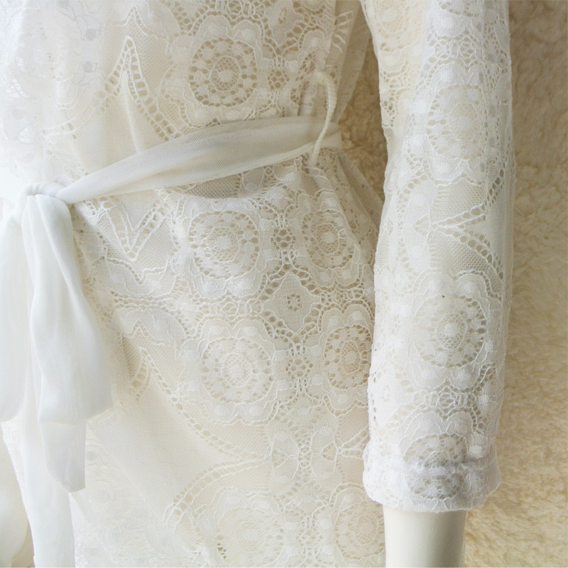 Lace-Short-Robe-Vintage-Chemise-Comfy-Pajamas-Bridal-Nightgown-Romantic-Nightdress-Floral-Kimono (5)