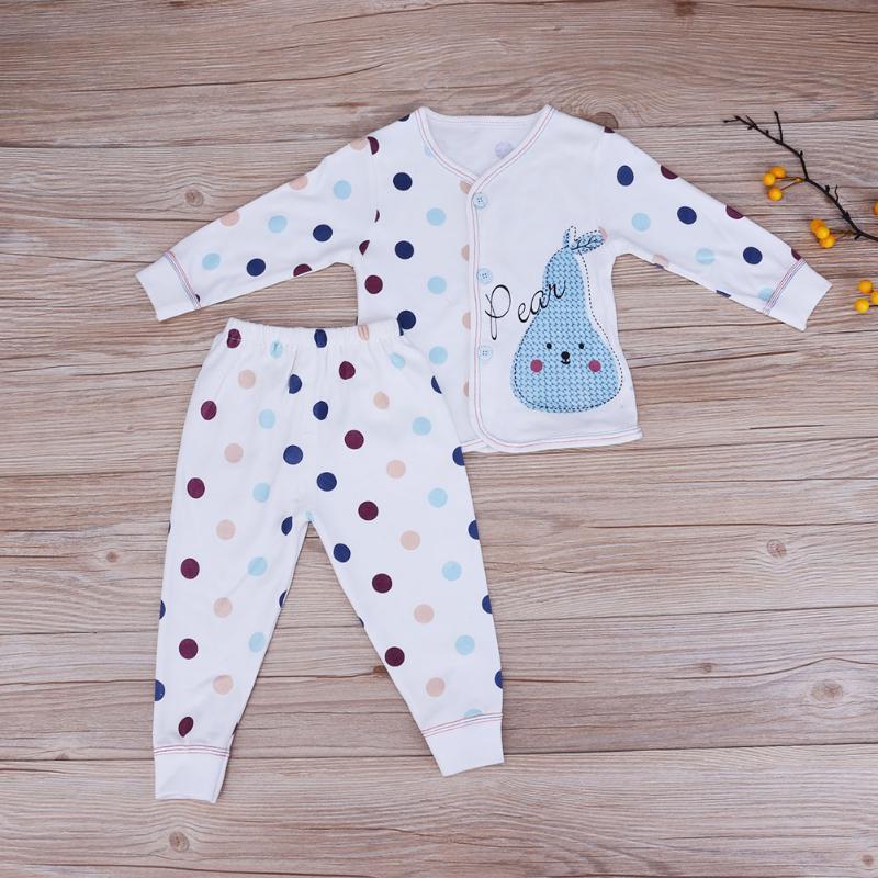 FäHig 2 Teile/satz Baby Schlaf Kleidung Dot Muster Weiche Baumwolle Neugeborenen Pyjamas Hause Casual Tops Hosen Nachtwäsche Hell In Farbe