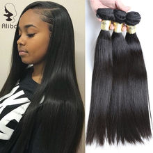Alibd 10A Brazilian Virgin Hair Straight Hair Weaves Bundles Unprocessed Cuticle Aligned Human Hair Natural Color Bundles Weaves(China)