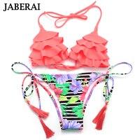 Brazilian Bikinis 2017 Women Halter Swimwear Sexy Strappy Swimsuit Floral Ruffle Top Beachwear Padded Bathing Suit