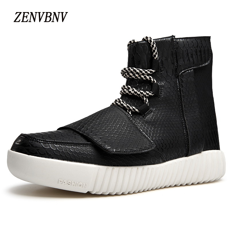 ZENVBNV New High Quality Snakerkin Fashion High Top Men Casual Shoes Comfortable Man Flats Lace Up Zip Buckle Black Gray Shoes 2017 spring brand new fashion pu stretch fabric men casual shoes high quality men casual shoes lace up casual shoes men 1709