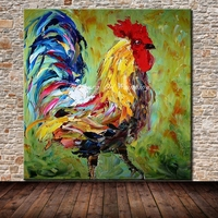 Arthyx Frameless Paintings Hand Painted Cock Animal Oil Painting On Canvas Wall Picture For Living Room Home Decor Artwork Gift