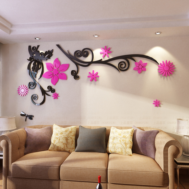 Free shipping 3D Flower Arcylic wall sticker TV Background Wall decoration DIY art home decor Home fashion decor sticker