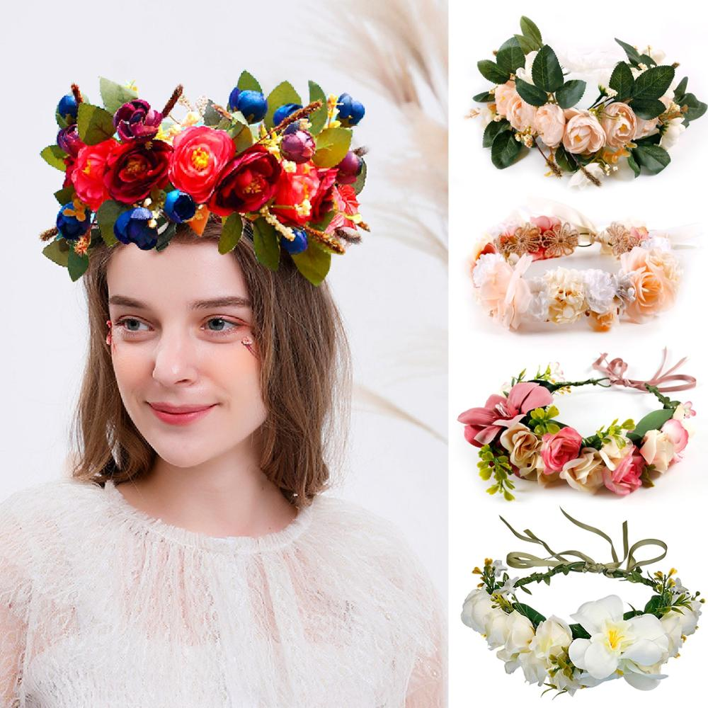 Patimate Bohemia Flower Headband Wedding Decorations for Weddings Favors Baby Shower Birthday Party Kids