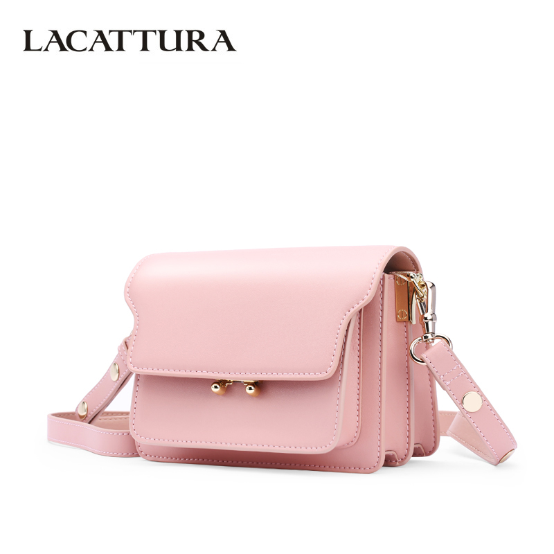 LACATTURA Luxury Women Leather Handbag Designer Shoulder Bags Small Accordion Bag Cowhide Purse Crossbody for Lady Summer Clutch lacattura luxury handbag women designer leather chain shoulder bag fashion small messenger bags clutch crossbody for lady summer
