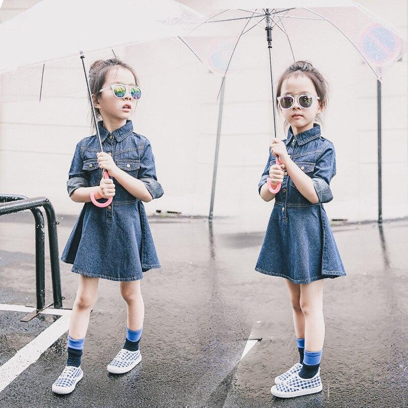 Autumn Girls Dress Fashion Long Sleeve Solid Children Denim Dress Outerwear 2017 New Baby Costume Kids