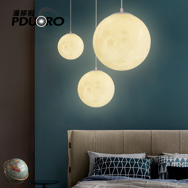 Nordic Modern Round Moon Led Pendant Light Bar Pendant Lamp For hotel living room Bedroom Hanging lamp Fixtures Lustre Lamparas