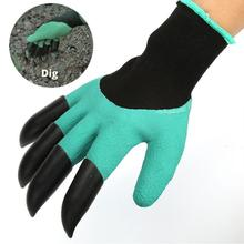 Saingace Garden GlovesFor Dig Planting Rubber Polyester Builders Garden Work ABS Plastic Claws Safety Working Protective Gloves