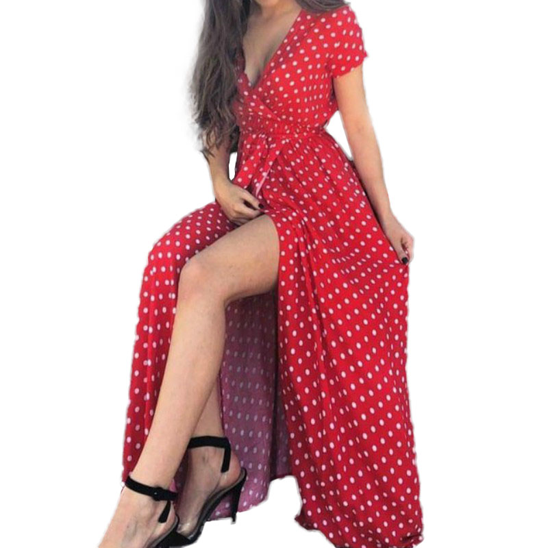 Women Beach Sundress Vintage Polka Dot Ruffles Maxi Long Dress Split Casual Party Short Sleeve V-neck Dresses Plus Size GV491