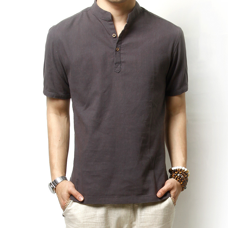 0efbefc455310 Summer Linen Cotton Short-Sleeved Shirt Men Korean Yards Loose Thin Short- Sleeved Linen Shirt Stand Collar Solid Color Shirt