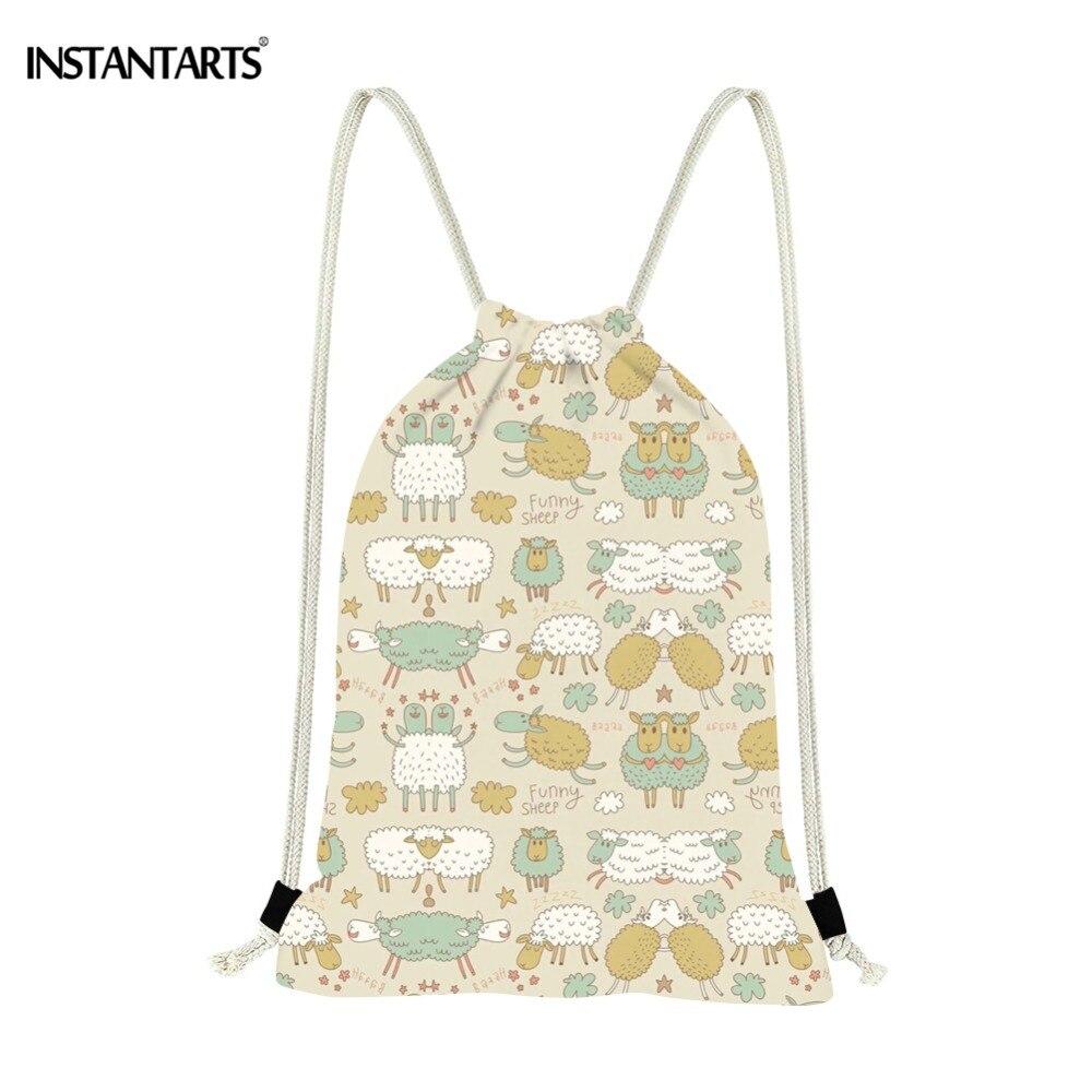 INSTANTARTS Cute Cartoon Sheep Printing Drawstring Bags Casual Girls Travel Storage Bag Shopping Strap Shoulder Backpack Daypack