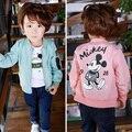 2017 Primavera Outono Jaquetas para o Menino do Revestimento do Revestimento do Menino Blusão Jaqueta de Inverno Mickey Impressão Crianças Dos Miúdos Jaqueta