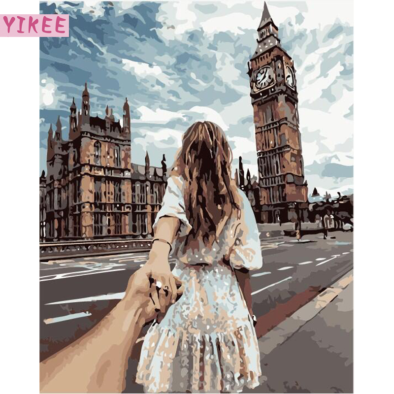 Special Gift Painting By Numbers Back Of Girlfriend,DIY Oil Figure Painting By Numbers Beauty Hope For Home Decoration