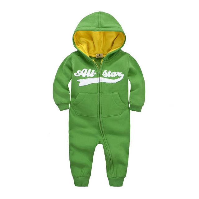 2016 hot outono inverno do bebê Das Meninas dos meninos Do Bebê Com Capuz Macacão Microfleece, marca forro de lã Do Bebê Meninas e meninos Macacão roupas