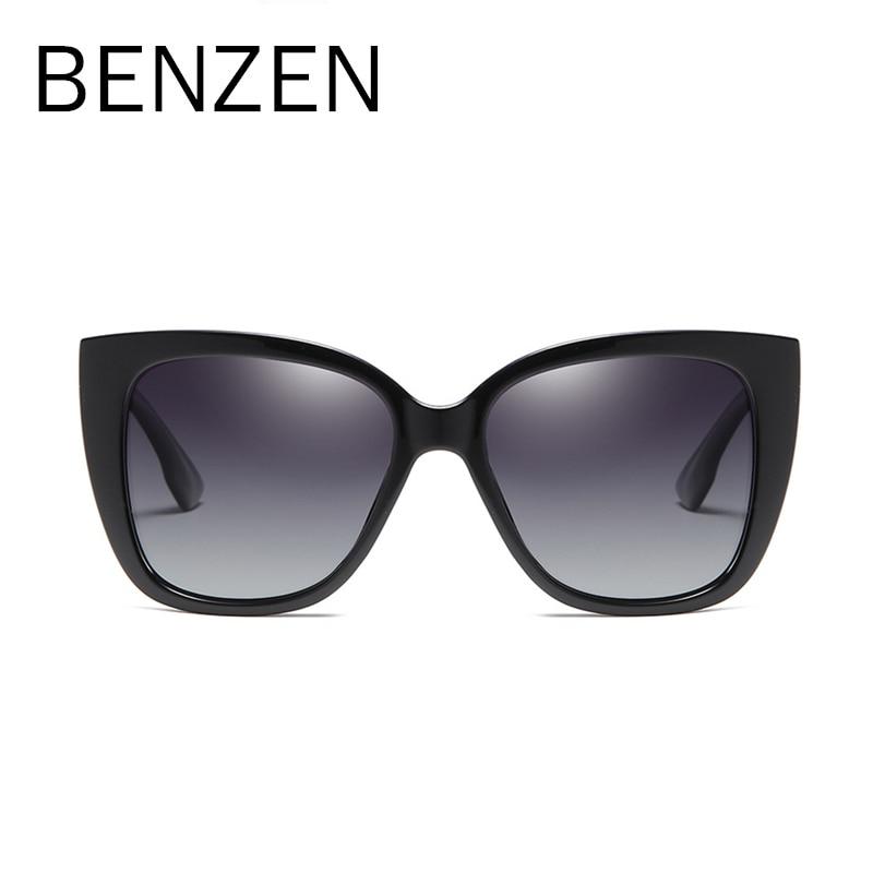 Image 2 - BENZEN Cat Eye Sunglasses Women Vintage Polarized Large Sun Glasses For Driving Retro Ladies Shades Black With Case 6601Womens Sunglasses   -