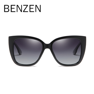 Image 2 - BENZEN Cat Eye Sunglasses Women Vintage Polarized Large Sun Glasses For Driving Retro Ladies Shades Black With Case 6601