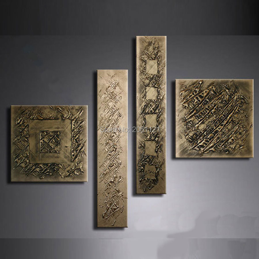 Hand Painted Retro Gilt Gunmetal Wall Painting Bronze Antigold Canvas Oil  Painting Wall Art Picture Abstract Home Decoration Art In Painting U0026  Calligraphy ...
