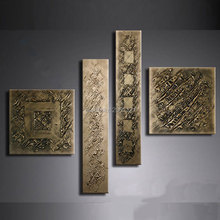 hand painted retro gilt gunmetal wall painting bronze antigold canvas oil art picture abstract home decoration