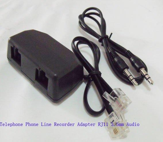 Dual RJ11 modular to 3.5mm Mini Phone jack Telephone Adapter for Phone Recording