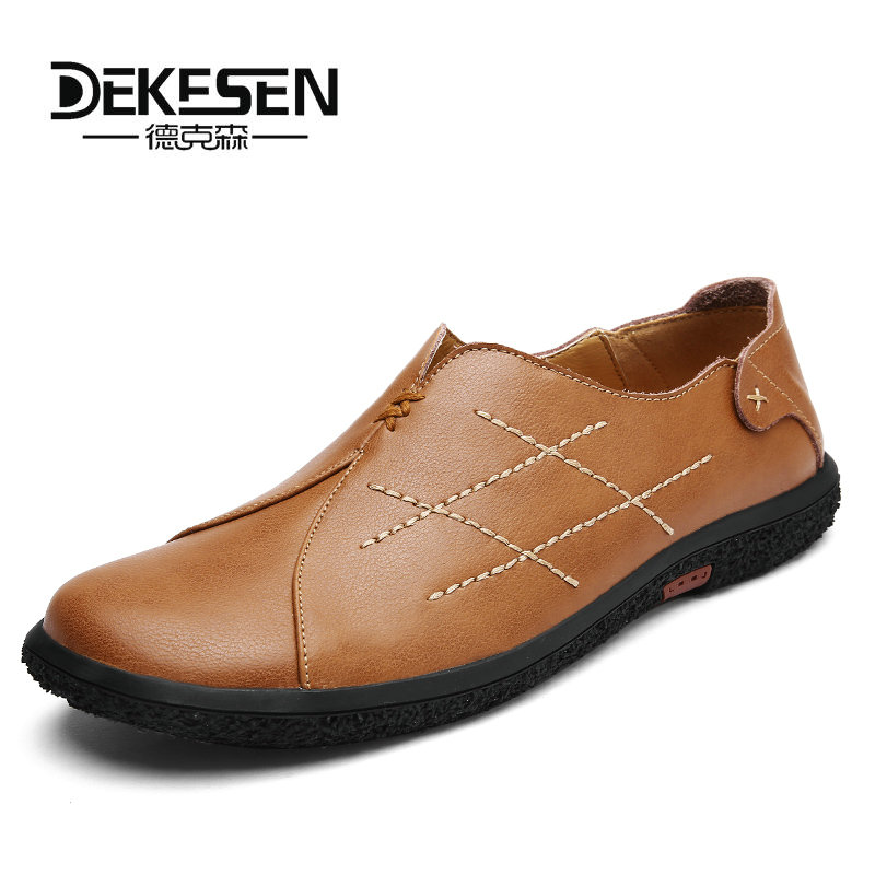 DEKESEN 2018 New Men Slip-on Casual Shoes Moccasins Leather Loafers Men Breathable Shoe Boat Moc Toe Slip-on Driver Shoes Flats men s crocodile emboss leather penny loafers slip on boat shoes breathable driving shoes business casual velet loafers shoes men