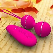 Female Tight Exercise Vaginal Ball Silicone Remote Control Vibrating Eggs Geisha Dual Vibrating Balls Sex Toys for Woman