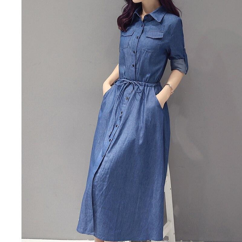 e60fdd4eb Élégant Jeans Automne blue Robe Femmes Slim Robes Coton Cowboy ...