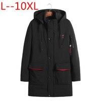 10XL 9XL 8XL 6XL 5XL 4XL 2018 черный цвет большой Размеры полиэстер тонкий зимняя куртка Для мужчин парка Весна Повседневное теплое пальто плюс размеры