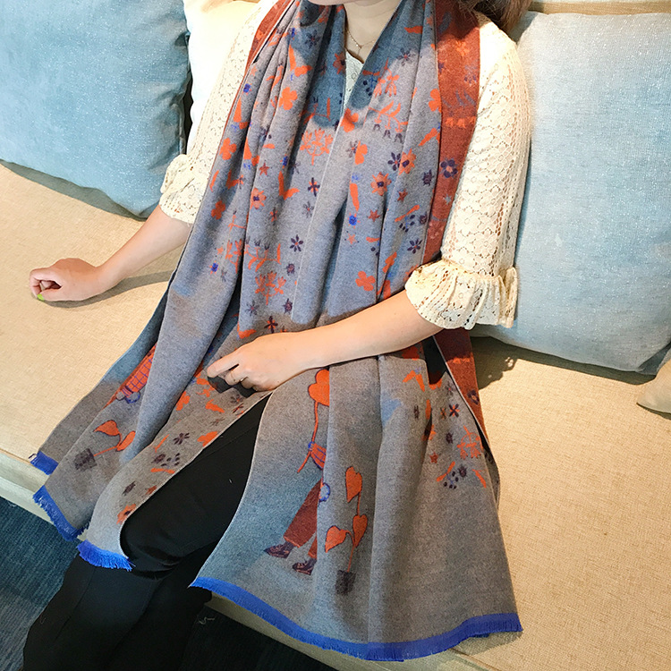 Fashion Women Scarf Winter Fall Women Scarves Long Wraps Shawls Thick Warm Cotton Cashmere Wool Pashmina Printed Womens Scarf